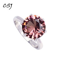 CSJ Classic Design Zultanite Ring Sterling 925 Silver Created Sultanite Color Change  Fine Jewelry Women Party Wedding Gift