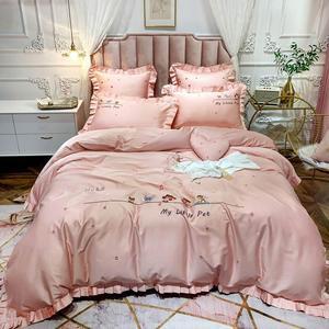 Svetanya Cartoon Pink Animals Bedding Set Embroidery Egyptian Cotton Bedlinens Queen King Size Duvet Cover Set Cushion Covers