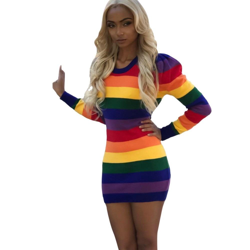 2018 Spring Fashion Women Sexy Tight Dresses Rainbow Long Sleeve Stripe Dresses Casual Bodycon Dress
