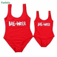 Funfeliz Family Matching Mother Daughter Swimwear 2018 Girls Swimming Suit Kids One Piece Bikini Women Swimsuit Red Monokini