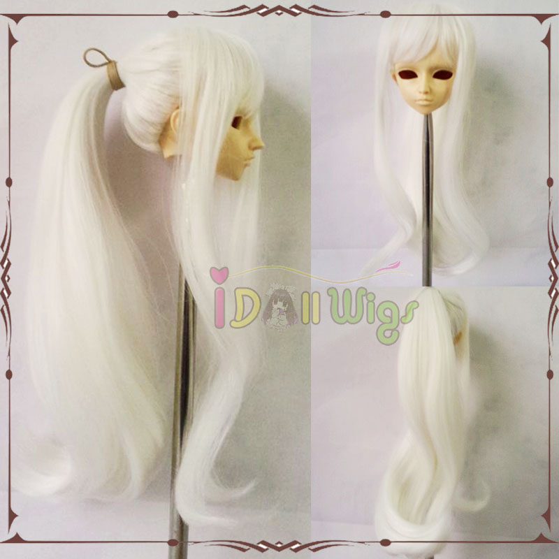 Hot Sale Synthetic Brand new white wig with one Ponytail big horsetail cosplay doll hair BJD 1/3 1/4 &Pullip dolls for choice free ship new fashion love live ayase eli yellow girl s cosplay party wig with ponytail