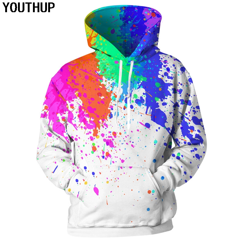 Mens Hooded Sweatshirt Magical Rainbow Unicorn and Star Pullover Fashion Hoodie Sweater