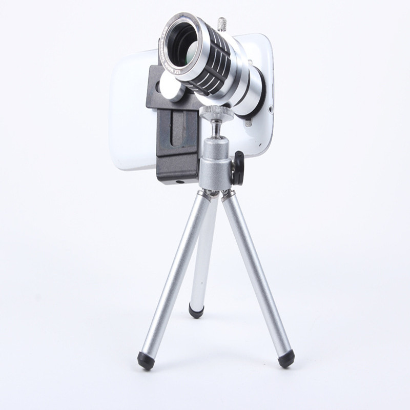 Universal 12X Zoom Phone Camera Lens Telephoto Telescope With Mount Clip Holder Mini Tripod Stand Lens For iPhone Smartphone 9
