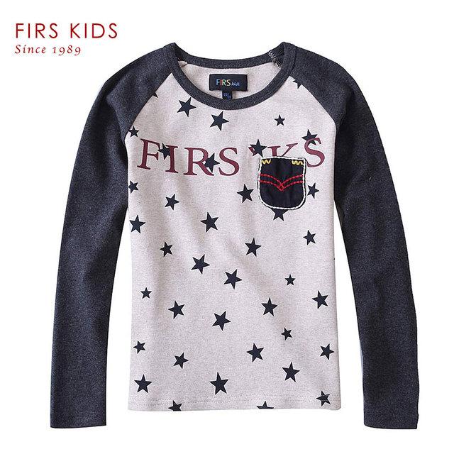 FIRS CRIANÇAS Novos Meninos Roupas 2016 Primavera/Outono Crianças Longo-Sleeved T Camisas Roupas de Algodão Infantil das Crianças meninos Camisetas