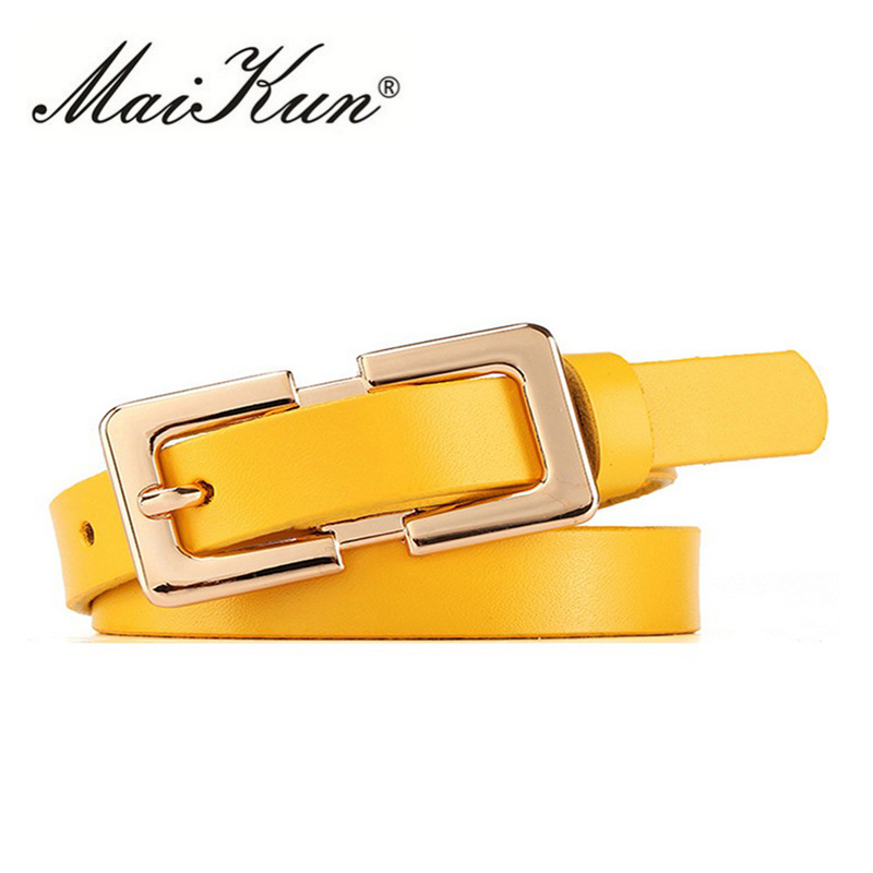 MaiKun Designer belt Female Belt Original Leather Belts For Women Golden Metal Pin Buckle Belt