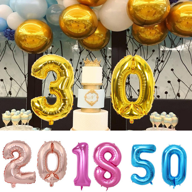 2pcs Champagne16th 18th 20th 21st 30th 40th 50th Birthday Balloon Gold Number Happy Party Decorations Adult