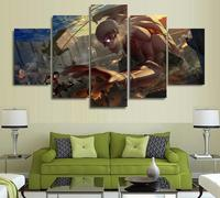 5 Panels Wall Art Armored Titan Mikasa Ackerman Shingeki Art Wall Decor Paintings Canvas Unframed