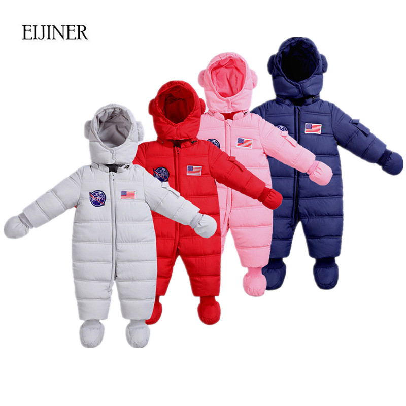 Baby Rompers Winter 2017 Baby Girls Boys Clothes Hooded Baby Boys Rompers Jumpsuits Infants Kids Winter Clothes