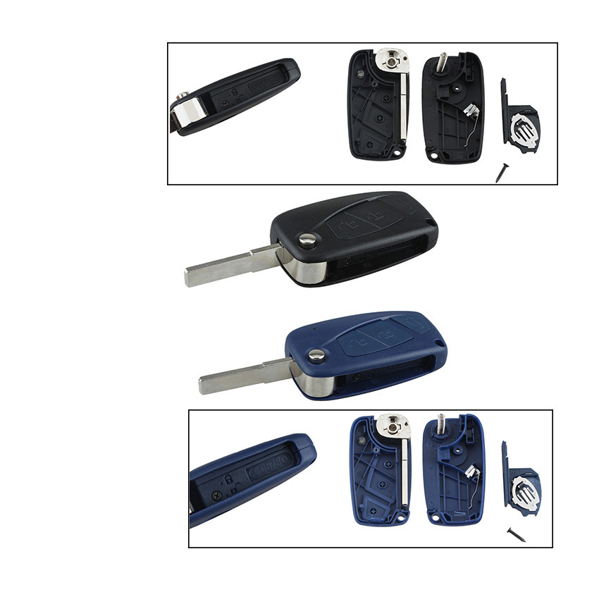 Original New Flip Fob Folding Remote Key Shell Case Cover 3 Buttons For Fiat Punto Ducato Stilo Panda Bravo Navy Black Blue Delicious In Taste