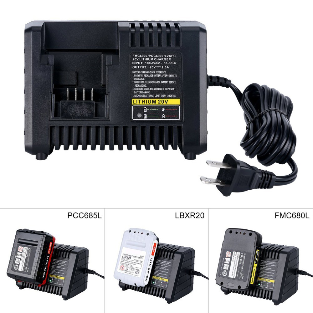 3 in 1 Power Tool Battery Charger For Black&Decker For Porter-cable For Stanley 20V Li-ion Battery Charger L2AFC FMC690L PCC690L стоимость