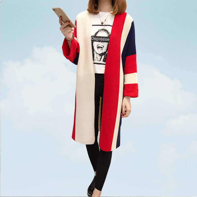 Autumn Winter Color Matching Medium Long Sweater Women Loose Puff Sleeve Knitting Female Cardigan Light Blue Stripe Coat SS184