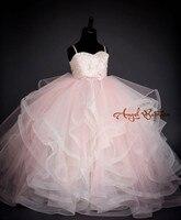 Pequeña princesa bola Rosa tulle encaje niño glitz Pageant vestido puffy Ruffles sweetheart larga que realiza los vestidos