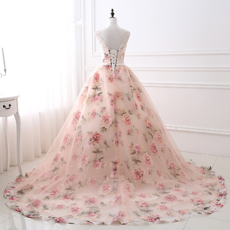 Elegant Sleeveless Ball Gown Sleeveless Scoop Neck Long Evening Dress Printed Tulle with Lace Vestidos Long Party Dress Pattern in Evening Dresses from Weddings Events