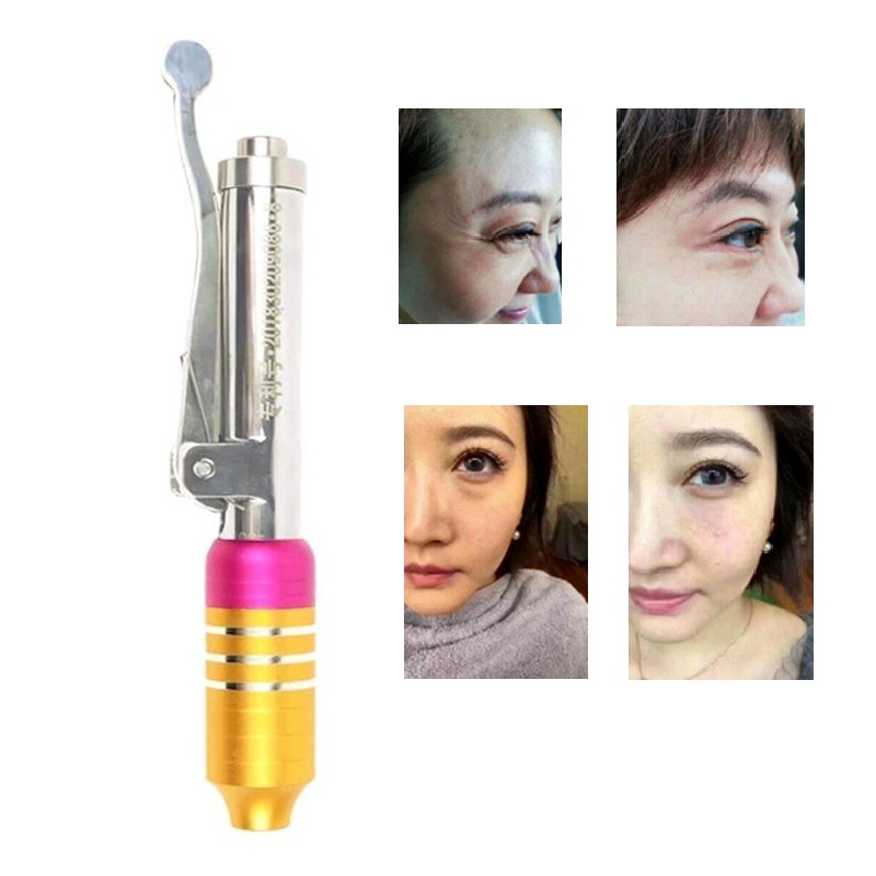 Kit de stylo d'atomiseur de Massage de stylo d'injection hyaluronique de beauté pistolets à acide à haute pression Injection d'aiguille de seringue d'eau Anti-rides