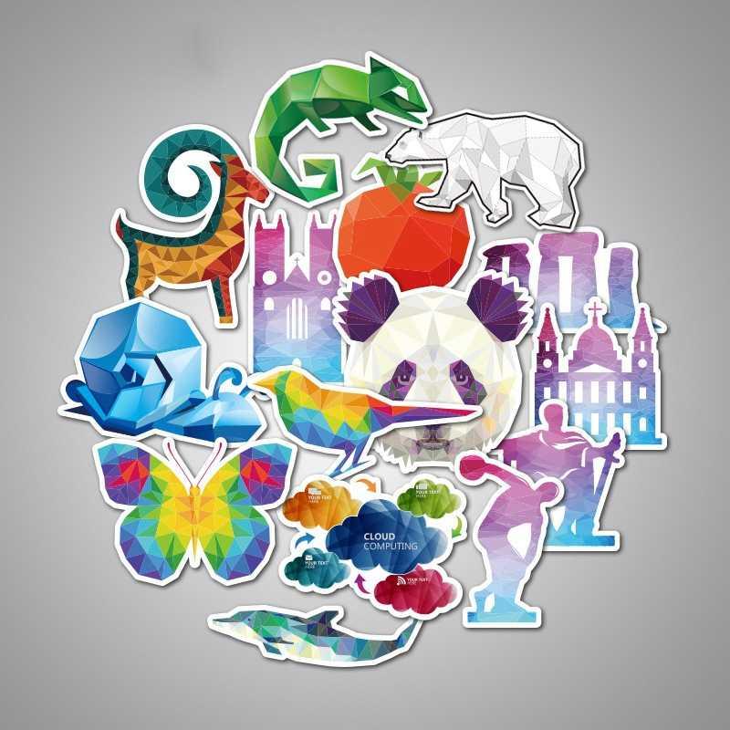 32 pcs autoadesivo Animale Panda Leone Alce Uccello Chameleon Coniglio Gufo Gatto Mucca Lupo Delfini Bambino Fresco sticker Adesivi Impermeabili giocattoli