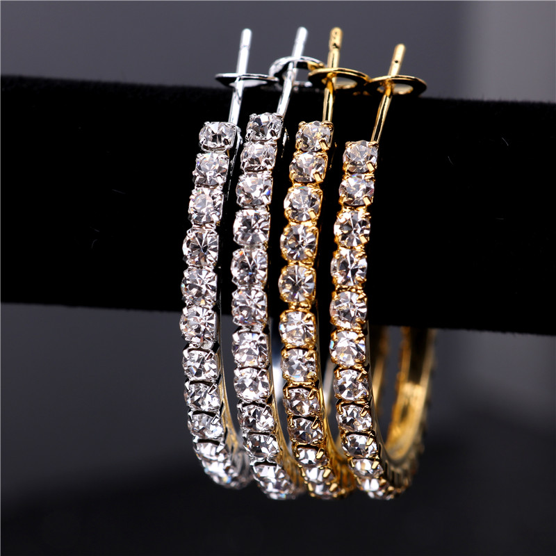 3-5CM 2 Colors Single Row Crystal Rhinestone Basketball Wives Hoop Earrings For Women