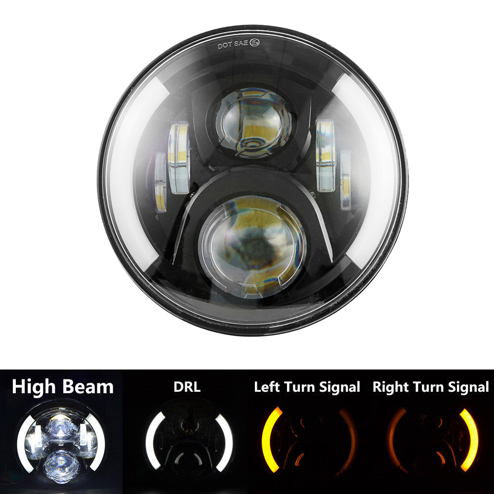 LED Daymaker Headlights 7 7inch Round 50W Hi/Lo Beam Motorcycle Driving Light with DRL turn Signal Halo Ring Angle Eye for Jeep