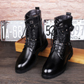 new 2016 men rivets riding boots genuine leather oxfords lace-up motorcycle boots size 39-43
