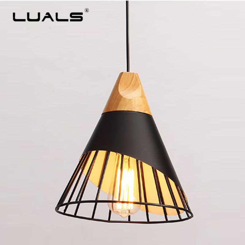 Nordic Fixtures Hanging Light Iron Lamp Shade Suspension Luminaire Edison Retro Lights Modern Pending Lighting LED Pendant Light iwhd glass led pendant lights modern brief wood hanging lamp edison bulb light fixtures suspension luminaire home lighting