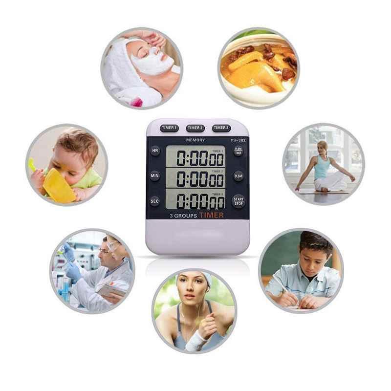 Digital KITCHEN เวลาทำอาหารนาฬิกา,3 ช่องพร้อมกันเกมส์จับเวลานับถอยหลัง UP TIMER จอแสดงผล LED ขนาดใหญ่ loud ALARM,M