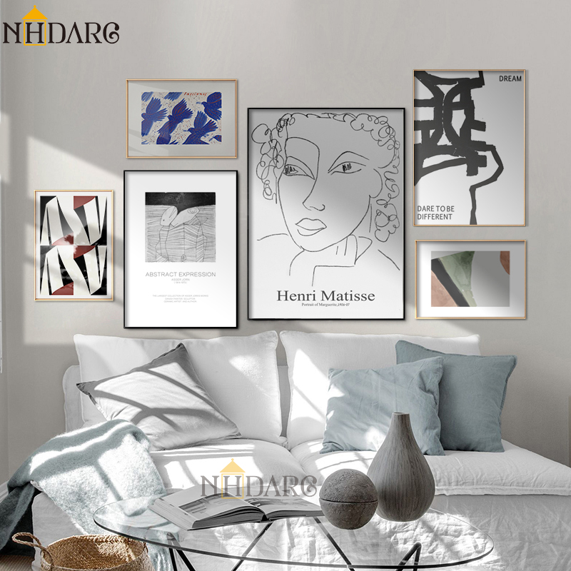 Matisse Abstract Retro Fashion Modern Line Sketch Posters And Prints Wall Art Canvas Pictures For Home Decor Living Room Decor