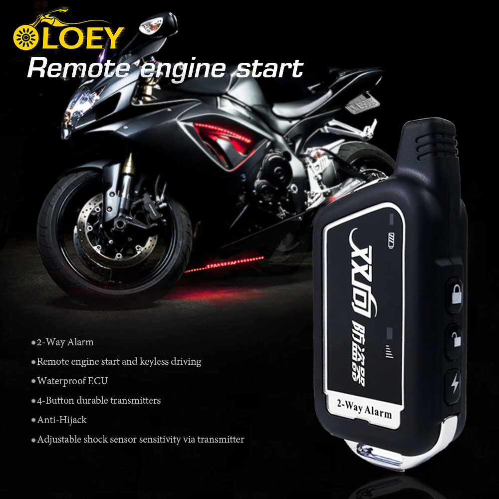 2 Two Way Anti Theft Motorcycle Alarm System Remote Engine