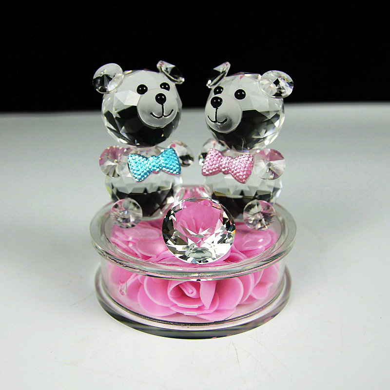 Beautiful Rose Little Bear Lovely Crystal Bear Wedding Sweetheart Gifts Symbol of Love Home Decoration