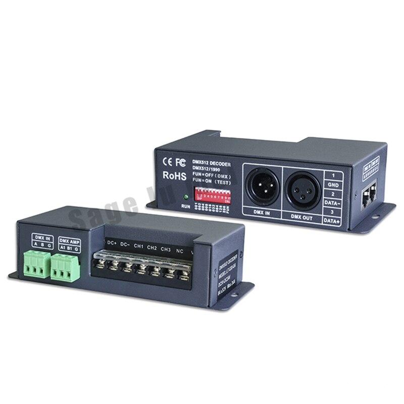 ФОТО LT-830-8A DC5V-24V 3CH Channels 8A signal DMX512 RDM LED Decoder DMX-PWM RGB CV Controller Driver Dimmer For LED Strip lighting