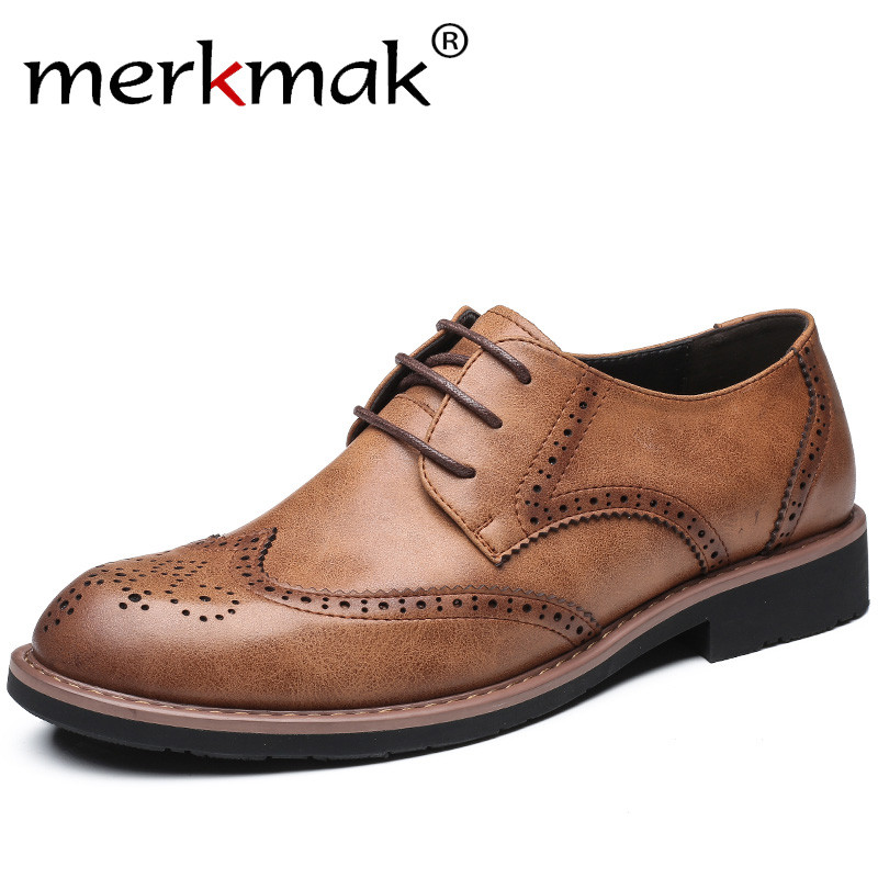 Merkmak New 2017 Men Dress Shoes Formal Wedding Genuine Leather Shoes Retro Brogue Business Office Men's Flats Oxfords For Men top quality crocodile grain black oxfords mens dress shoes genuine leather business shoes mens formal wedding shoes