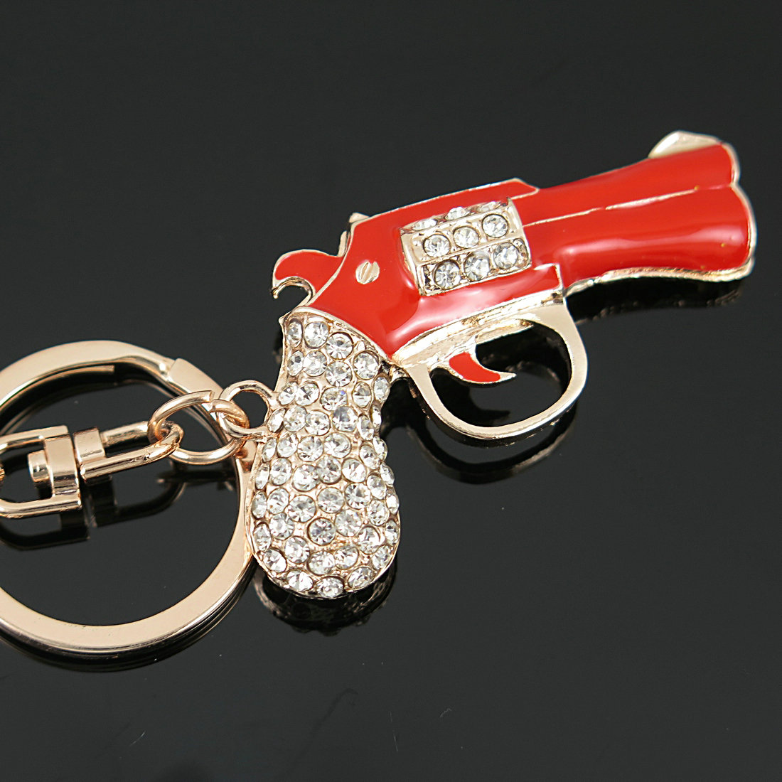 Red Enamel Revolver Magnum Gun Key Chains Holder Crystal