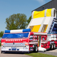 Large Inflatable Slide With Firetruck Theme/Inflatable Bouncer