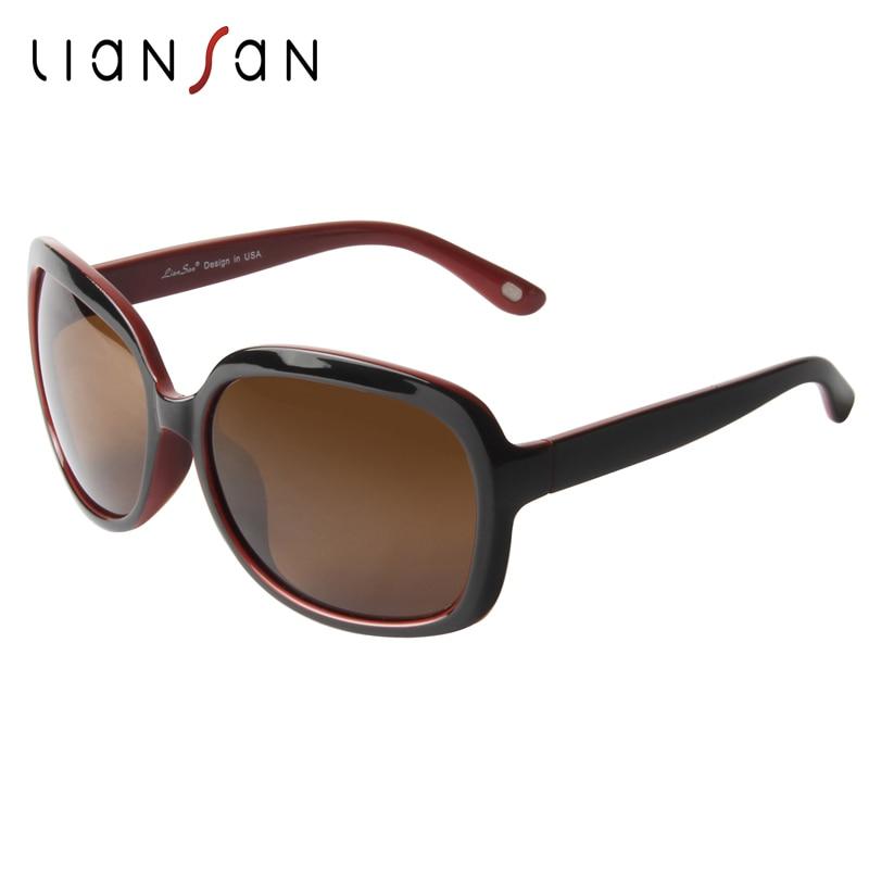 77fcdbcf650303 LianSan Vintage Tendance lunettes de Soleil Polarisées Femmes Rétro Marque  Designer De Luxe PC Pilote De Mode Femelle Noir UV400 LSP301