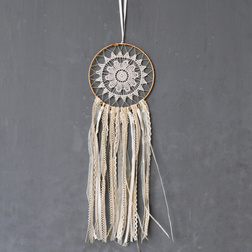 Us 8 41 15 Off Vintage Cream Lace Dream Catcher Tee Decor Accessories Dreamcatcher Room In Toy Tents From Toys Hobbies On Aliexpress