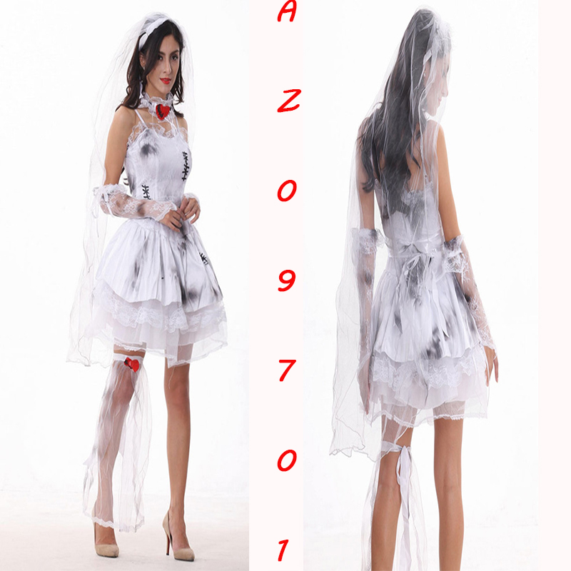 6 Styles Optionally Horror Dark Ghost Bride Wedding Dress Zombie Bride Costume Halloween Hell Goddess Vampire Cosplay Uniforms