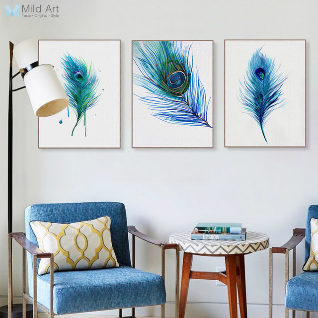 Modern Watercolor Blue Peacock Feather Poster A4 Triptych Nordic Living  Room Wall Art Picture Home Deco