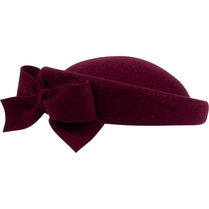 FS Women Derby Fascinators Hat Elegant Winter Pink Black Red Ladies Wool Felt Wedding Pillbox Hats Girl Bow Church Dress Fedoras