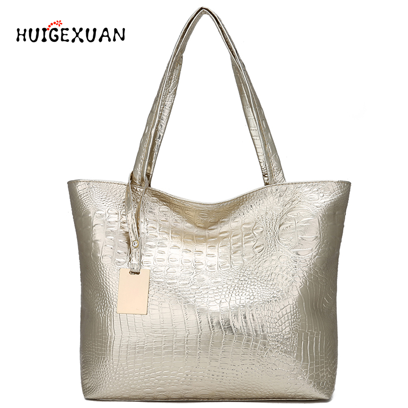 Women Large Capacity Handbags Soft PU Leather Crocodile Bag Ladies Casual Shopping Tote Bags Shoulder Bags Sac Main Silver Gold produino 5v voltage boost mobile power module green 1a