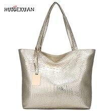 купить Women Large Capacity Handbags Soft PU Leather Crocodile Bag Ladies Casual Shopping Tote Bags Shoulder Bags Sac Main Silver Gold по цене 817.4 рублей