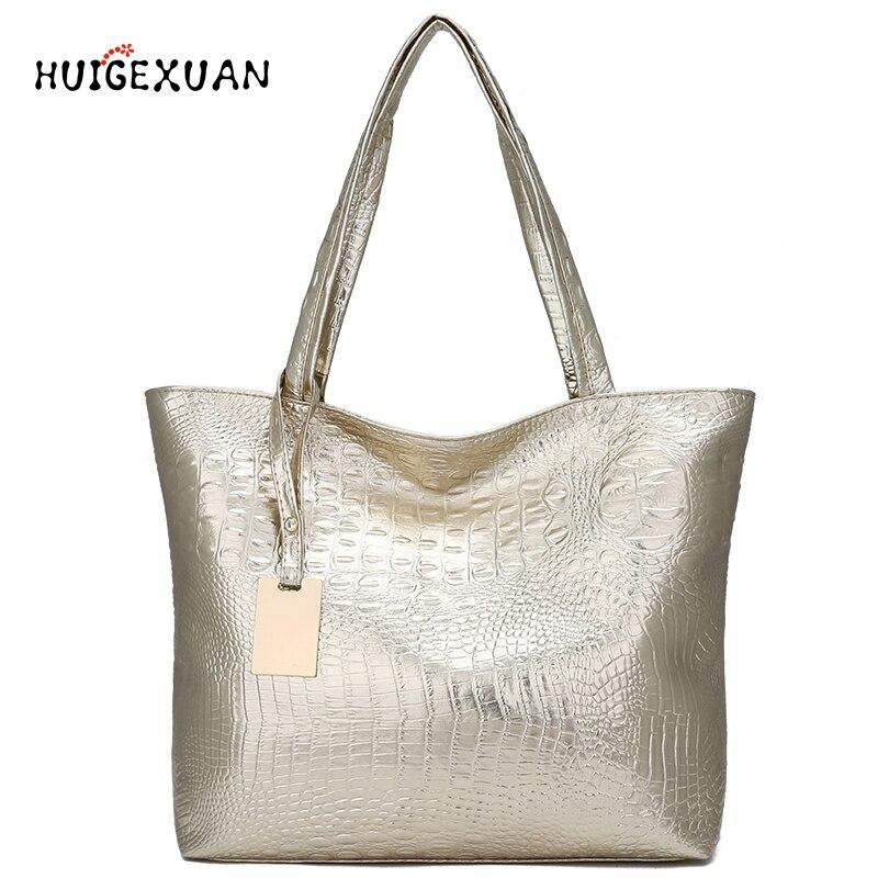 Women Large Capacity Handbags Soft PU Leather Crocodile Bag