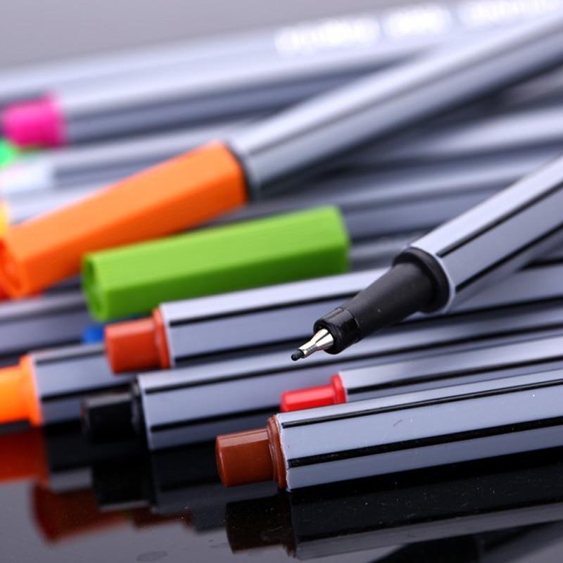 24 Colors Fineliner Pens Superfine Marker Pen 0.4mm Water Based Assorted Ink Arts Drawing for Children Graffiti Hook Fiber Pens
