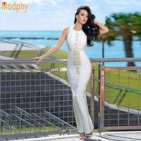 2017 new Kim kardashian white metal rings beading sleeveless dress women sexy long luxury evening party bandage dresses HL610