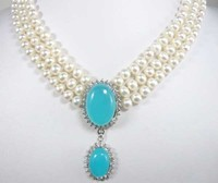 Accessories gift 6 7mm white natural pearl necklace blue pendant