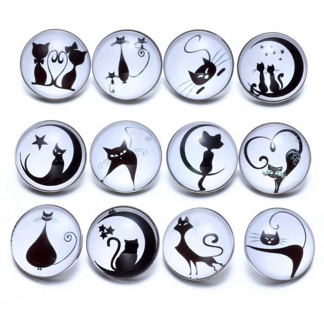 12pcs/lot Black&White Theme Cat Pattern Glass Charms 18mm Snap Button Jewelry For 18mm Snaps Bracelet Snap Jewelry KZ0684c
