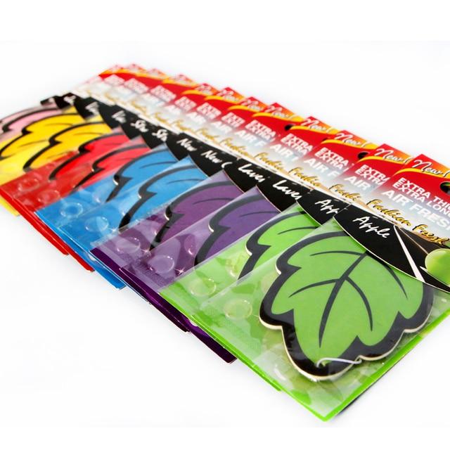 12pcs/lot Auto Shine Paper Hanging Car Air Freshener Vanilla perfumed/fragrance Leaf Shape Free Shipping