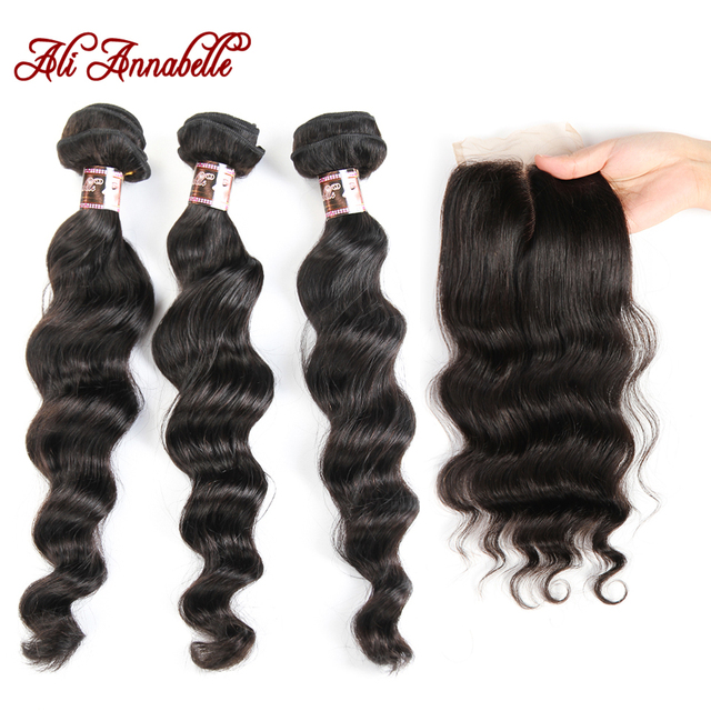 Ali Annabelle Peruvian Loose Wave 3 Bundles With Closure 4pc Deals