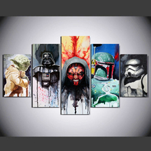 Купить с кэшбэком Wall Art HD Home Decoration Pictures Posters Frame 5 Pieces Movie Star Wars Character For Living Room Printed Modern Painting