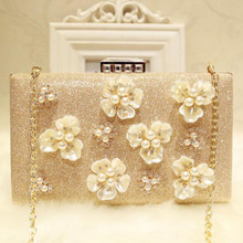 Golden Evening Bags for Women Plastic Flower Evening Dress Bags Luxury Elegant Female Metal Evening Clutch Bags Box with Chain 2018vintage evening clutch with luxury diamonds evening handbag with detachable chain unique design for a variety of occasions