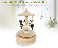High Quality Wooden Music Box Rotatable Carousel Wooden Music Box Toy Decoration Christmas Xmas Brithday Gifts for Kids