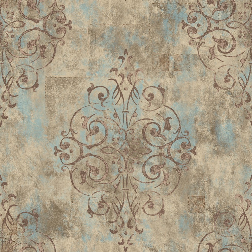 HaokHome Vintage French Damask Vinyl Wallpaper PVC wall covering Yellow/Mist Blue/Brown Living Room Bedroom Home Bathroom Decor haokhome modern luxury heavy texture victorian damask wallpaper black gold brown silver 3d living room bedroom home art decor
