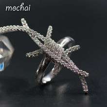 Special Design Full AAA Cubic Zirconia Long Crab Finger Rings Simple Gold-Color Creative Women Jewellery Accessories ZK42